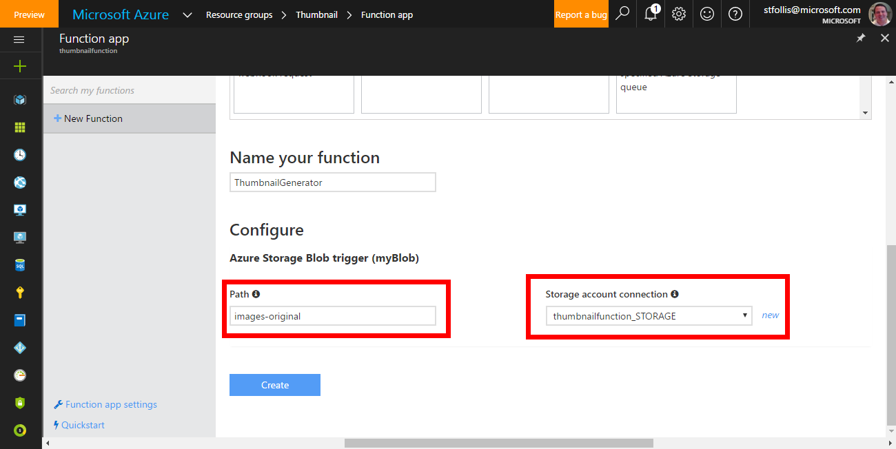 Background image thumbnail processing with Azure Functions